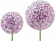 Gartenstecker - Allium - H100cm / D15cm - Rosa - Gartendeko