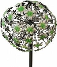 Gartenstecker - Allium - Solar - H130cm / D22cm - Grün / Silber - Gartendeko