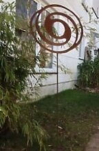 Gartenstecker Beetstecker Edelrost spiral oval