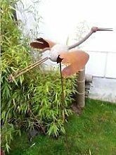 Gartenstecker Beetstecker Kranich aus Eisen und Stein Vogel Metall Gartendeko