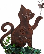 Gartenstecker Beetstecker MIEZE Katze Metall rost