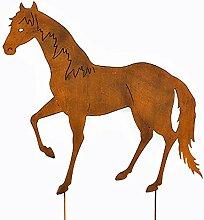 Gartenstecker Beetstecker Pferd braun Metall (922037) Gartendeko Gartenfigur