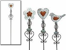 Gartenstecker Blume od. Herz od. Vogel aus Metall grau/braun L 100 cm Gartendeko (Grau Herz)