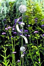 Gartenstecker Curl Edelstahl m. 4 Kugeln/2 Bögen Höhe 80 cm, Gartendeko, Garten, Geschenk