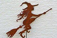 Gartenstecker Edelrost 120 cm hübsche Hexe auf