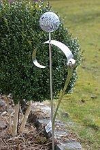Gartenstecker Edelstahl Edelstahlkugel Marmorstein-Optik silberne Kugel 125 cm, Garten, Gartendeko