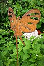 Gartenstecker Elfe Schmetterling 118cm Metall Rost Gartendeko Edelrost Groß