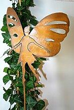 Gartenstecker Elfe Schmetterling 63cm Metall Rost Gartendeko Edelrost Groß