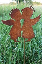 Gartenstecker Engel 118cm Metall Rost Gartendeko Edelros