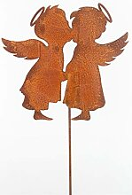 Gartenstecker Engel 118cm Metall Rost Gartendeko