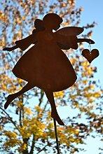 Gartenstecker Engel mit hohen filigranen Flügel -