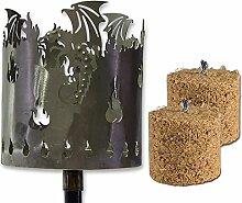 Gartenstecker Fackel Drache aus Metall Gartenfackel Feuerstelle Gartendeko