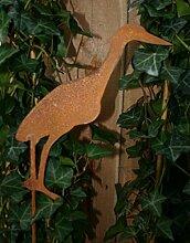 Gartenstecker Fischreiher 92cm Metall Rost Gartendeko Edelros