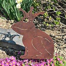 Gartenstecker Frosch mit Krone Edelrost Metallstecker Pflanzstecker