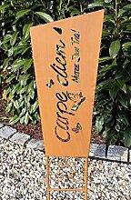 Gartenstecker Gartenschild Carpe Diem Beetstecker Edelrost/Rost Optik Gartendeko Gartenfigur