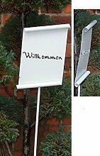 Gartenstecker Gartenschild WILKOMMEN als Pergamentrolle aus Metall Gartendeko