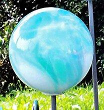 Gartenstecker Glas Kugel 18 cm auf Stab mundgeblasen jade (10200) Gartendeko