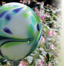 Gartenstecker Glas Kugel 18 cm auf Stab mundgeblasen mint (10200) Gartendeko