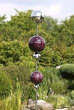 Gartenstecker Globe Edelstahl m. 5 Kugeln beere Höhe 200 cm, Gartendeko, Garten, Geschenk