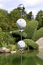 Gartenstecker Globe Edelstahl m. 5 Kugeln silber Höhe 200 cm, Gartendeko, Garten, Geschenk
