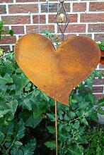 Gartenstecker Herz 118cm x 28cm Metall Rost Gartendeko Edelros