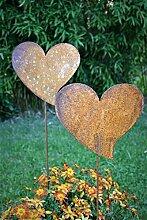 Gartenstecker Herzen Set 2er 50cm höhe Metall Rost Gartendeko Edelros