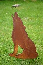 Gartenstecker heulender Wolf Metall Rost Gartendeko Edelros