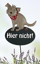 Gartenstecker Hund Hier nicht! braun/beige/rot Metall, Höhe 44 cm, Gartendeko, Gartenstab, Hundehaufen
