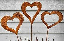 Gartenstecker im 3er Set Herzen Bettstecker