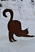 Gartenstecker Katze aus Metall + Edelrost -