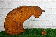 Gartenstecker Katze + Vogel 50cm Höhe Metall Rost Gartendeko Edelros