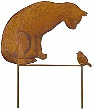Gartenstecker Katze + Vogel 50cm Höhe Metall Rost