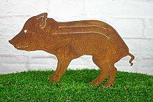 Gartenstecker kleines Wildschwein Baby Metall Frischling Rost Gartendeko 36cm