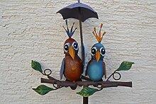Gartenstecker lustiges Vogelpaar mit Schirm-Höhe ca.140 cm- aus Metall