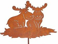 Gartenstecker mit Elchpaar - Höhe 81 cm - aus