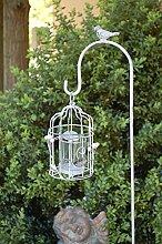 Gartenstecker mit Windlicht Vogel & Perlen Dekoration Anhänger Teelicht Teelichthalter Windlicht Kerzenhalter Vogel Käfig grau 113cm