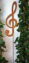 Gartenstecker Notenschlüssel 118cm Metall Rost Gartendeko Edelrost Groß