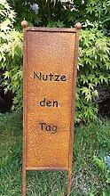 Gartenstecker Nutze den Tag Metall Gartenschild