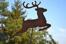 Gartenstecker, Pflanzstab, sehr dekorativer Hirsch/Rentier mit großem Geweih aus Stahl mit Edelrost - Weihnachtsstecker