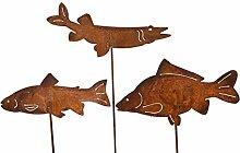Gartenstecker Set Fische 3 x 60cm Metall Rost