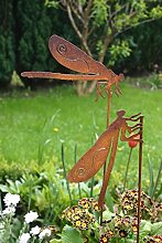 Gartenstecker Set Libelle 2 x 50cm Metall Rost Gartendeko Edelros