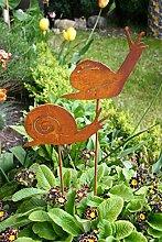 Gartenstecker Set Schnecke 2 x 60cm Metall Rost Gartendeko Edelros