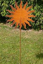 Gartenstecker Sonne 118cm Metall Rost Gartendeko Edelrost Groß