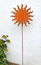 Gartenstecker Sonne Metall Rost Edelrost Beetstab Rankhilfe Gartendekoration Skulptur ca. 120cm