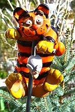 Gartenstecker Tiger-Katze mit Maus- sehr edle
