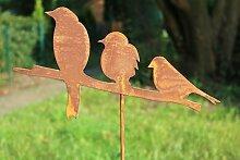 Gartenstecker Vögel 3er 114cm Metall Rost Gartendeko Edelrost Groß