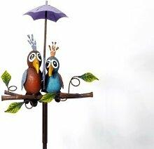 Gartenstecker Vogelpaar mit Schirm 10x24x138cm