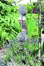 Gartenstecker Wave Edelstahl m. 4 Kugeln/1 Bogen Höhe 160 cm, Gartendeko, Garten, Geschenk