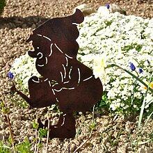 Gartenstecker Wichtel mit Gießkanne Edelrost Metallstecker Pflanzstecker