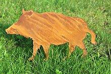 Gartenstecker Wildschwein Metall Rost Gartendeko 61cm
